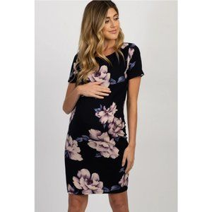 PinkBlush Navy Blue Floral Fitted Maternity Dress